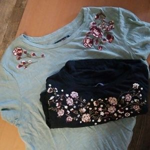 Lot of 2 A&F knit embroidered tees